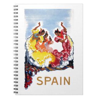 Vintage Spain Flamenco Dancers Travel Poster Spiral Notebook