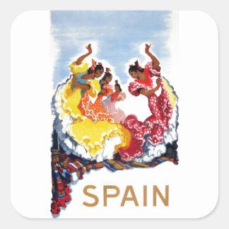 Vintage Spain Flamenco Dancers Travel Poster Square Sticker