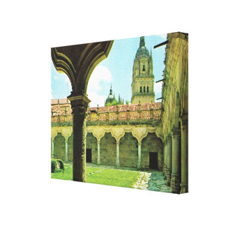 Vintage Spain, Salamanca, Schools Yard, Cathedral Canvas Print