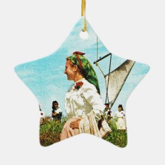 Vintage Spain, Spanish folklore Ceramic Star Ornament
