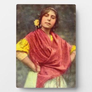 Vintage Spanish Gypsy Tabletop Photo Plaque
