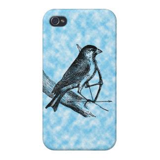 Vintage Sparrow Bird w/Bow & Arrow Old Archery Cover For iPhone 4