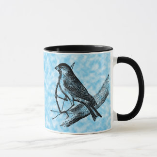 Vintage Sparrow Bird w/Bow & Arrow Old Archery Mug
