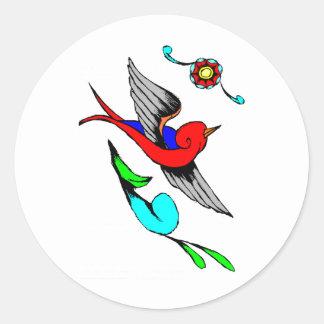 Vintage Sparrow Tattoo Classic Round Sticker