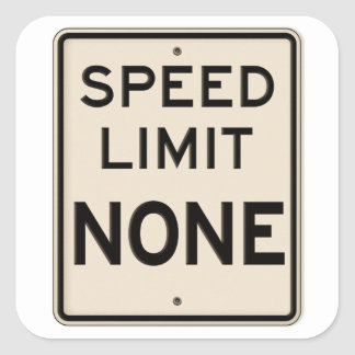 Vintage Speed Limit None Highway Road Sign Square Sticker