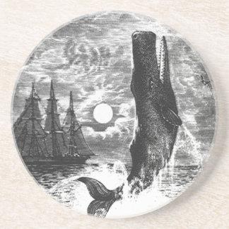 Vintage Sperm Whale Breaching, Marine Life Animals Coaster