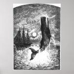 Vintage Sperm Whale Breaching, Marine Life Animals Poster
