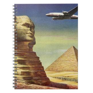 Vintage Sphinx Airplane Desert Pyramids Egypt Giza Notebooks