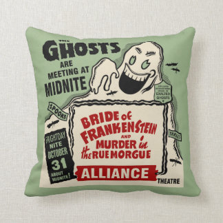 Vintage Spook Show Poster Art - Ghosts at Midnight Throw Pillow