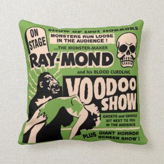 Vintage Spook Show Poster Art - Voodoo Skull ! Throw Pillow