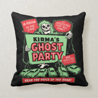 Vintage Spookshow Poster Art - Kirma's Ghost Party Throw Pillow