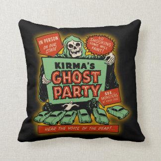 Vintage Spookshow Poster Art - Kirma's Ghost Party Throw Pillows