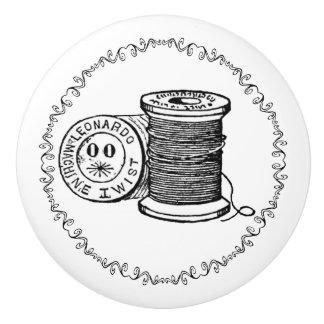 Vintage Spool of Thread Ceramic Knob