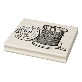 Vintage Spools of Thread Rubber Art Stamp