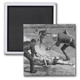 Vintage Sports Antique Baseball in Black and White Square Magnet