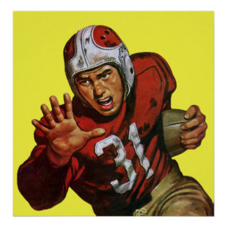 Vintage Sports Athlete Football Player Runningback Poster