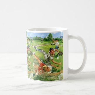 Vintage Sports Baseball, Children Teams Playing Classic White Coffee Mug