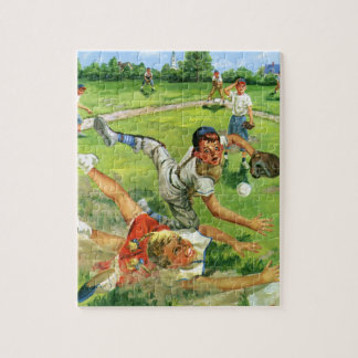 Vintage Sports Baseball, Children Teams Playing Jigsaw Puzzle