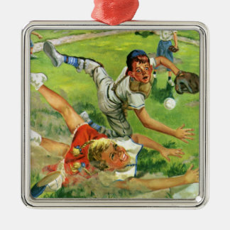 Vintage Sports Baseball, Children Teams Playing Silver-Colored Square Ornament