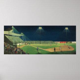 Vintage Sports, Baseball Game at Night Poster