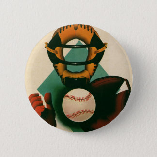Vintage Sports Baseball Player, Catcher with Mitt 2 Inch Round Button