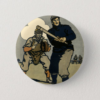 Vintage Sports, Baseball Players in a Game 2 Inch Round Button
