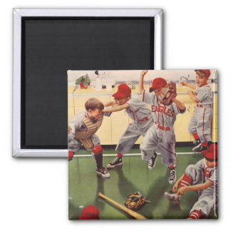 Vintage Sports Baseball Team, Boys in a Food Fight Square Magnet