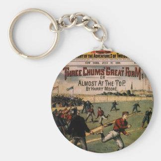 Vintage Sports Baseball Three Chums Magazine Cover Basic Round Button Keychain