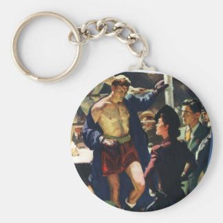 Vintage Sports, Boxer Leaving the Boxing Ring Basic Round Button Keychain