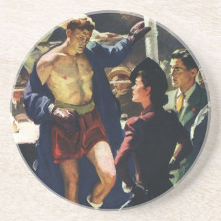 Vintage Sports, Boxer Leaving the Boxing Ring Beverage Coasters