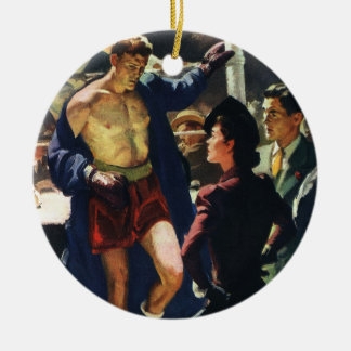Vintage Sports, Boxer Leaving the Boxing Ring Ceramic Ornament
