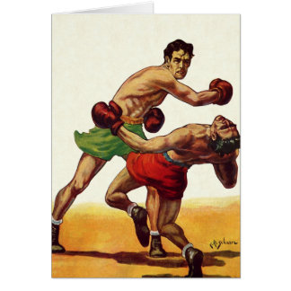 Vintage Sports, Boxers in a Boxing Fight Card