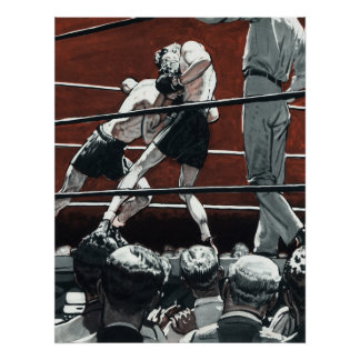 Vintage Sports Boxing, Boxers Fight in the Ring Poster