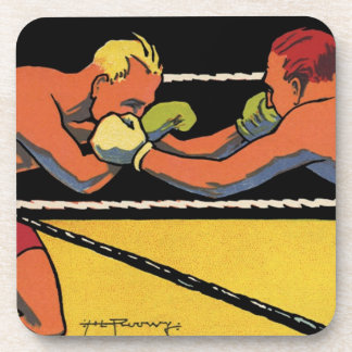Vintage Sports Boxing, Boxers Fighting in the Ring Beverage Coasters