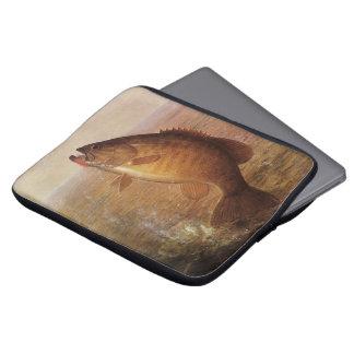 Vintage Sports Fishing, Largemouth Brown Bass Lake Laptop Sleeves