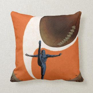 Vintage Sports, Football Player Kicking the Ball Throw Pillow
