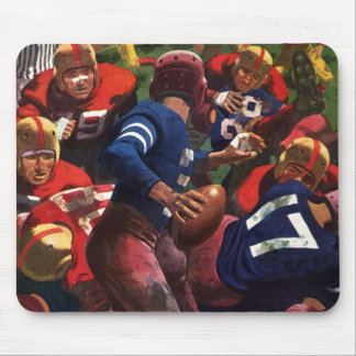 Vintage Sports Football Player Quarterback in Game Mouse Pad