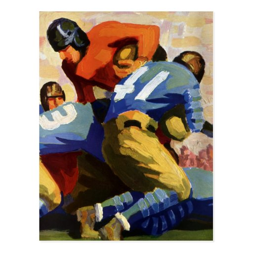 Vintage Sports, Football Players in a Game Postcard