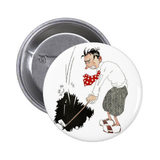 Vintage Sports, Funny Silly Humour, Angry Golfer Pinback Buttons