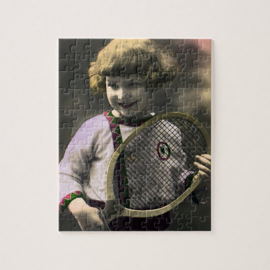 Vintage Sports, Happy Girl Holding a Tennis Racket Jigsaw Puzzle