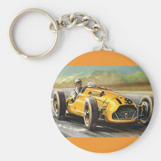 Vintage Sports Racing, Yellow Race Car Racer Basic Round Button Keychain