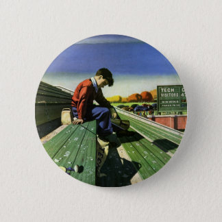Vintage Sports, Sad Football Fan with Megaphone 2 Inch Round Button