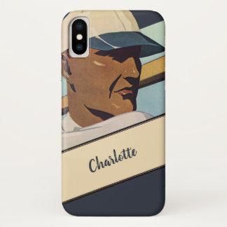 Vintage Sports, Stylized Baseball Player Batter iPhone X Case