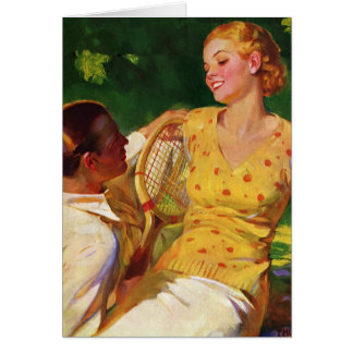 Vintage Sports Tennis, Love and Romance Card