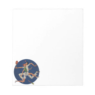 Vintage Sports, Tennis Players Crash with Rackets Notepads