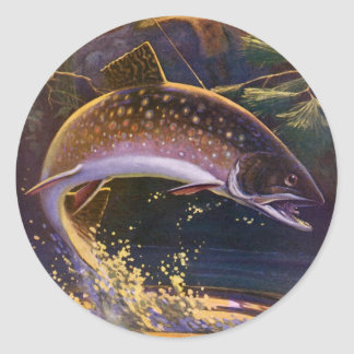 Vintage Sports Trout Fish Fishing, Catch n Release Round Sticker