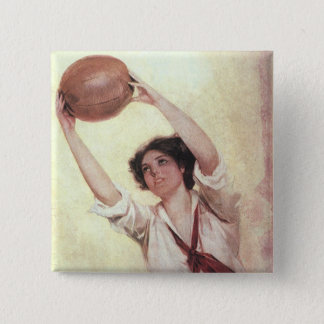 Vintage Sports, Woman Basketball Player with Ball 2 Inch Square Button