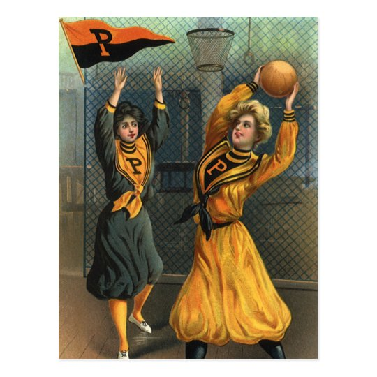 Vintage Sports, Women Team Playing Basketball Game Postcard