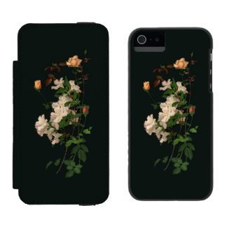Vintage Spray of Flowers on Black Incipio Watson™ iPhone 5 Wallet Case