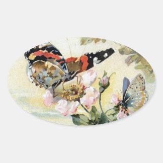 Vintage Spring Butterfly Flowers Sticker